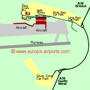 Map of Bristol airport showing access roads and location of car parks