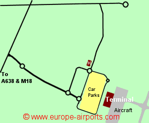Map of Doncaster Sheffield airport showing access roads and location of car parks