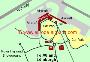 Map of Edinburgh airport showing access roads and location of car parks