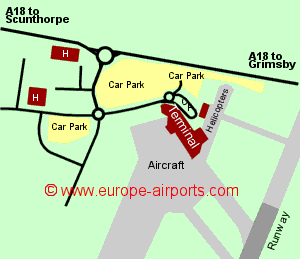 Map of Humberside airport showing access roads and location of car parks