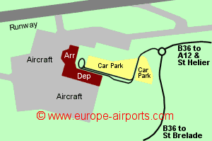 Map of Jersey airport showing access roads and location of car parks