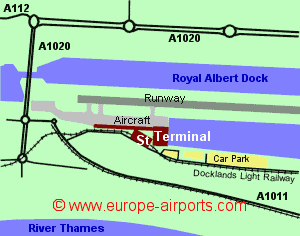 Map of London City airport showing access roads and location of car parks
