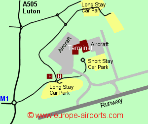 Map of London Luton airport showing access roads and location of car parks
