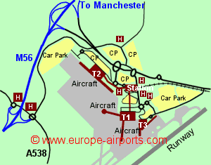 Map Of Manchester Airport Showing Access Roads And Location Of Car Parks