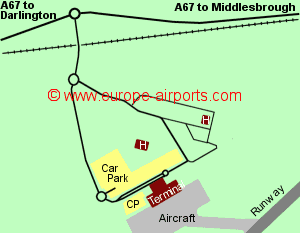 Map of Durham Tees Valley airport showing access roads and location of car parks