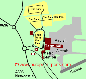 Map of Newcastle airport showing access roads and location of car parks