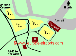 Map of Norwich airport showing access roads and location of car parks