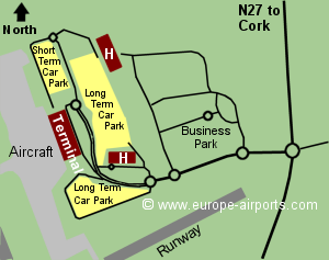Map of Cork airport showing access roads and location of car parks