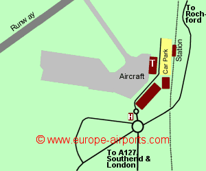 Map of London Southend airport showing access roads and location of car parks
