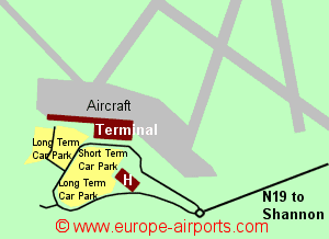 Map of Shannon airport showing access roads and location of car parks
