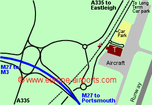 Map of Southampton airport showing access roads and location of car parks