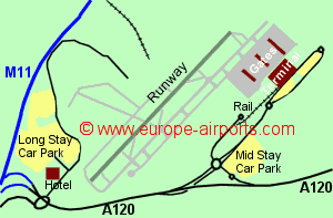 Map of London Stansted airport showing access roads and location of car parks