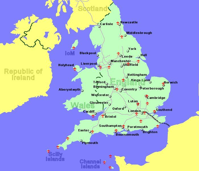 large map of england wales and the channel isles showing all airports for which we