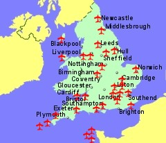 Map Of Uk Airports Airports in Uk and Ireland with Flights to the Rest of Europe