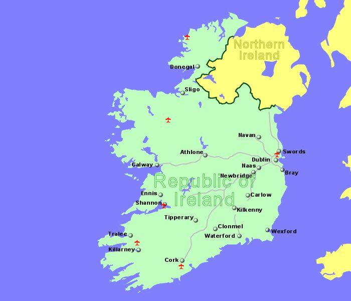 large map of ireland showing all airports for which we have flight details
