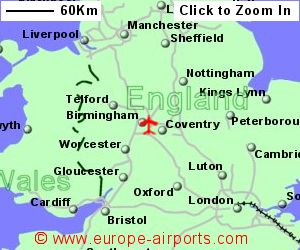 map showing location of birmingham airport uk and ire