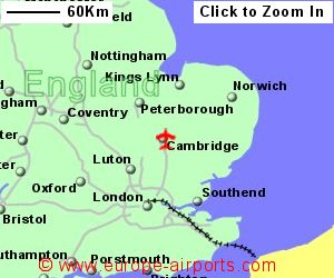 Cambridge airport cbg guide flights map showing location of cambridge airport uk and ire sciox Choice Image