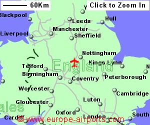 map showing location of east midlands airport uk and ire