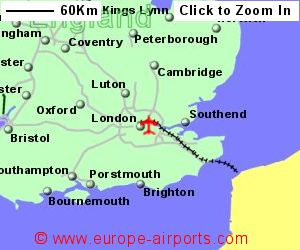 map showing location of london city airport uk and ire