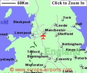map showing location of manchester airport uk and ire