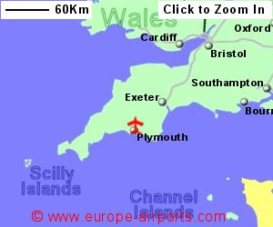 map showing location of plymouth airport uk and ire