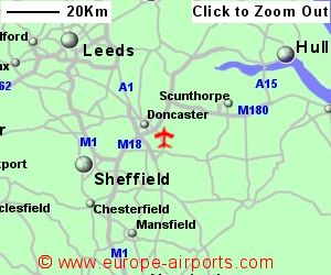 Doncaster sheffield robin hood airport dsa guide flights detailed map showing location of doncaster sheffield airport uk and ire sciox Choice Image
