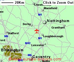 detailed map showing location of east midlands airport uk and ire