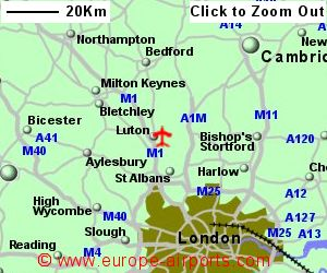 detailed map showing location of london luton airport uk and ire