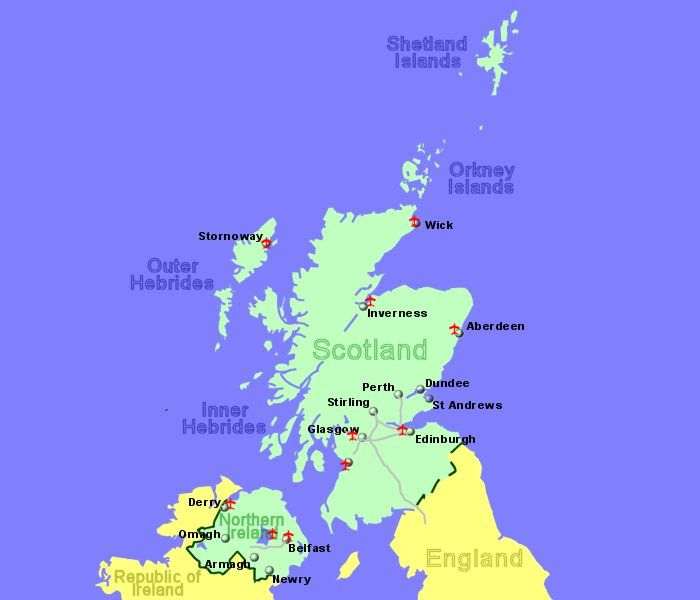 large map of scotland and northern ireland showing all airports for which we have flight details