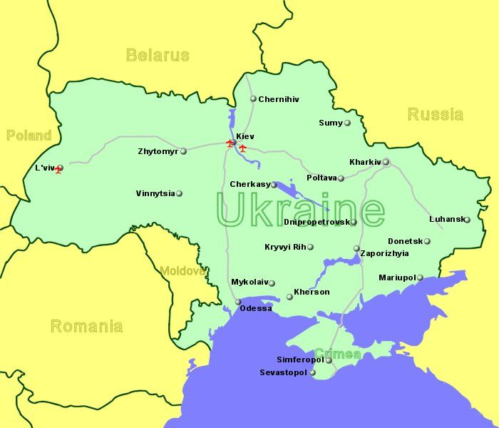Large Clickable Map Of Ukraine Airports - Map of ukraine